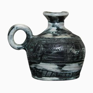 Minzgrüner Keramik Sgraffito Krug von Jacques Blin, 1950er