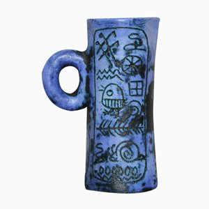 Blue Ceramic Sgraffito Pitcher by Jacques Blin, 1950s