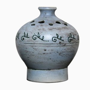 Pastel Blue Ceramic Sgraffito Vase by Jacques Blin, 1950s