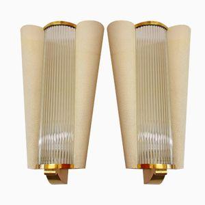 Französische Mid-Century Wandlampen mit Glasstäben von Petitot, 1950er, 2er Set