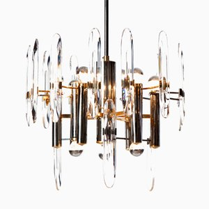 Nine-Light Chandelier in Chrome, Brass and Crystal Glass by Gaetano Sciolari, 1960s