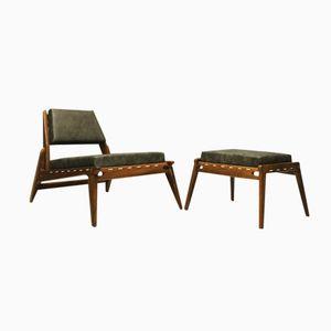 Deutscher Mid-Century Hunting Chair & Ottoman aus Eichenholz & Leder, 1950er
