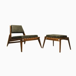Mid-Century German Hunting Chair with Ottoman in Oak and Leather, 1950s