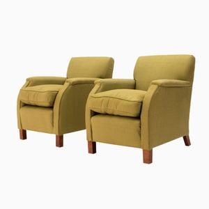 Italian Green Armchairs, 1930s, Set of 2
