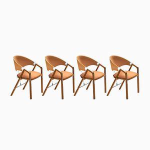 Walnut Chairs by J. Tresserra, 1987, Set of 4