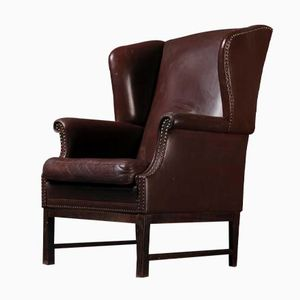 Vintage Dark Brown Leather Wing Chair
