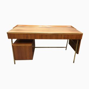 Vintage Scandinavian Rosewood & Brass Desk