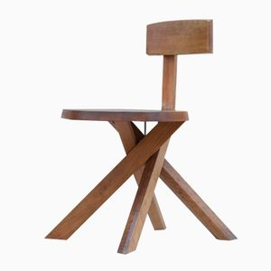 S34 Solid Elm Chair by Pierre Chapo for Seltz, 1970s