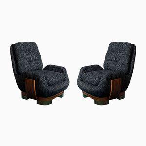 Italienische Sessel aus Palisander & Baumwolle, 1960er, 2er Set