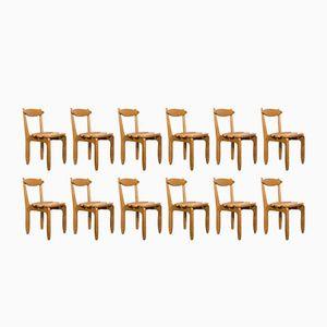 Solid Oak Chairs by Guillerme et Chambron for Votre Maison, 1970s, Set of 12