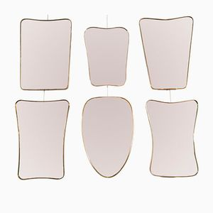Brass Framed Wall Mirrors, 1960s, Set of 6