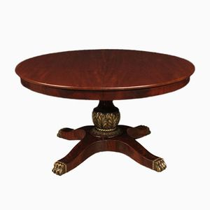 Großer Ausziehbarer Runder Mahagoni Tisch, 1950er