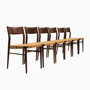 Vintage Model 351 Dining Chairs by Georg Leowald for Wilkhahn, 1950s, Set of 6