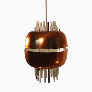 Vintage Pipe Glass Gilded Pendant Hanging Light from Peill & Putzler