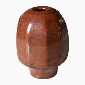 Französische Vintage Sandstein Emaillierte Keramik Vase von Daniel de Montmollin