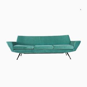 Italienisches Mid-Century Aquamarin Sofa aus Samt, 1960er