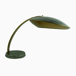 Französische Tischlampe aus Stahl in Gold & Grau, 1960er