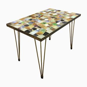 Small Italian Side Table in Brass and Mosaic, 1950s