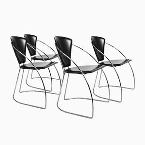 Mid-Century Italian Modern Leather Chairs, 1970s, Set of 4
