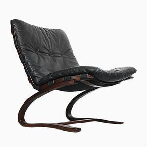 Norwegian Leather Lounge Chair by Ingmar Relling for Westnofa, 1960s