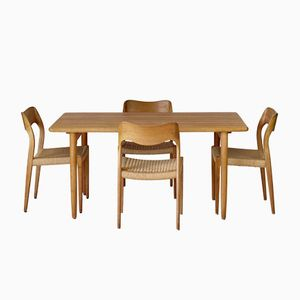 Oak Model 71 Chairs & Table Dining Set by Niels Møller for J.L. Moller, 1960s