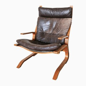 Leather Bentwood Armchair by Oddvin Rykken, 1970