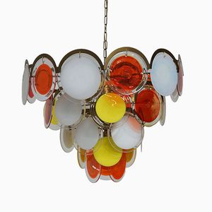 Multi-Color Murano Glass Disc Chandelier from Vistosi, 1970s
