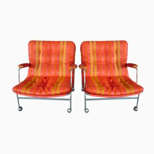 Swedish Vintage Karin Easy Chairs by Bruno Mathsson for Dux, 1960s, Set of 2