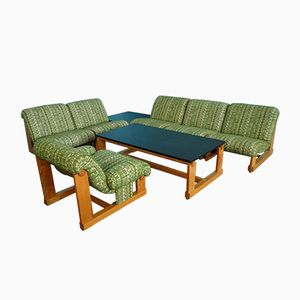 Vintage Spruce Living Room Suite with Coffee Tables, 1970s