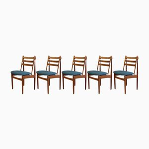 Model J60 Oak Dining Chairs by Poul M. Volther for FDB Møbler, 1950s, Set of 5
