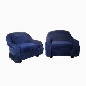 Italian Alcantara Fabric Armchairs, 1970s, Set of 2