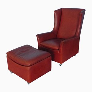 Leather Winged Armchair & Ottoman from Kill International, 1970s