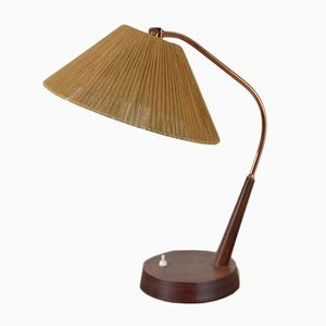 Scandinavian Teak & Brass Table Lamp, 1960s