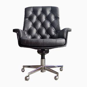 Sedia da ufficio vintage in capitonné con schienale alto