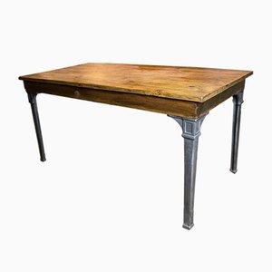 Vintage Esstisch mit Tischbeinen aus Gusseisen