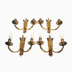 French Brass Wall Sconces from Petitot, 1940s, Set of 4
