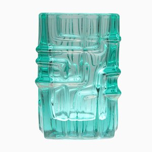 Model 617 Turquoise Pressed Glass Vase by Vladislav Urban for Sklo Union Rosice, 1960s