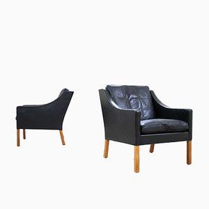 Vintage Modell 2207 Sessel von Børge Mogensen für Fredericia, 2er Set
