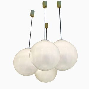 Vintage Opaline Glass Globe Pendants, Set of 4