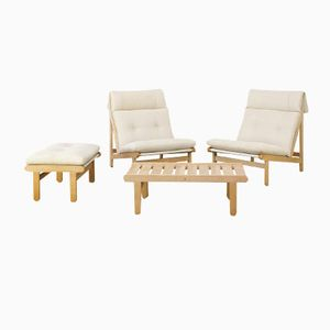 A Frame Easy Chairs, Ottoman & Coffee Table by Bernt Petersen for Schiang, 1960s