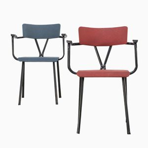 Office Chairs in Red and Blue, 1950s, Set of 2