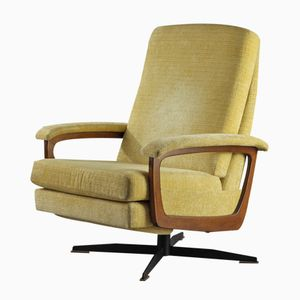 Lounge Amchair in Wood and Yellow Fabric, 1960s