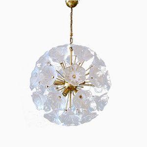 Large Brass and Murano Glass Flower Sputnik Chandelier