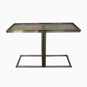 Italian Steel and Brass Console Table from Bonci, 1970s