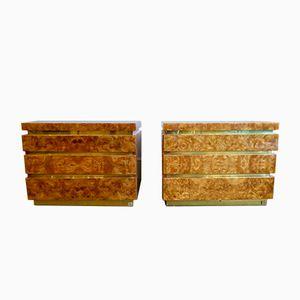 Burr Walnut Dressers by Jean Claubde Mahey, 1970s, Set of 2