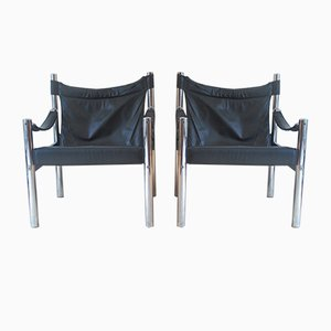 Danish Chrome and Leather Safari Chairs, 1970s, Set of 2