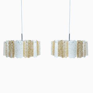 Vintage Corrugated Pendant Lamps, 1970s, Set of 2