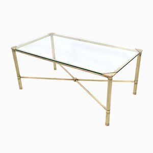 French Brass and Glass Coffee Table, 1940s