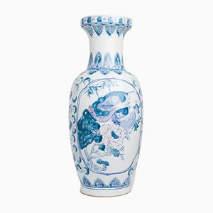 Vintage Oriental-Patterned Floor Vase