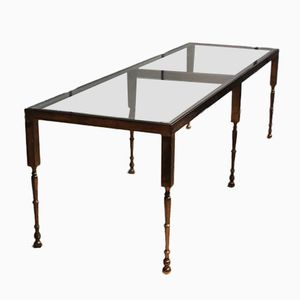 Italian Gilt-Brass & Glass Coffee Table, 1950s